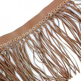 Frange nouée simili cuir - marron x 20cm