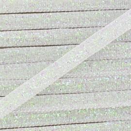 Ruban paillettes irisées 5mm - blanc x 1m