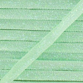 Glittery ribbon 5mm - green water x 1m