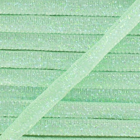Ruban paillettes irisées 5mm - vert d'eau x 1m