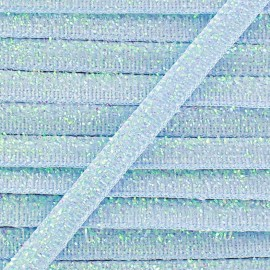 Glittery ribbon 5mm - blue sky x 1m