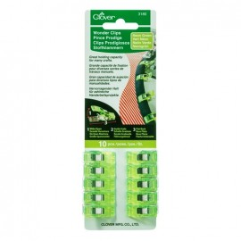1 set of 10 wonder clips Prodiges - neon green
