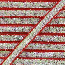 Ruban paillettes irisées 5mm - rouge x 1m