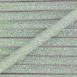 Ruban paillettes irisées 5mm - gris clair x 1m