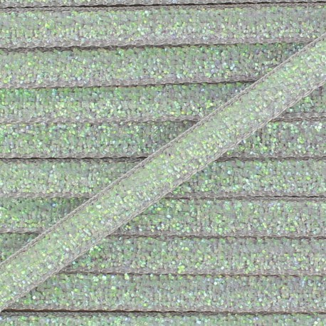 Glittery ribbon 5mm - grey light x 1m
