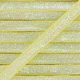 Ruban paillettes irisées 5mm - jaune clair x 1m