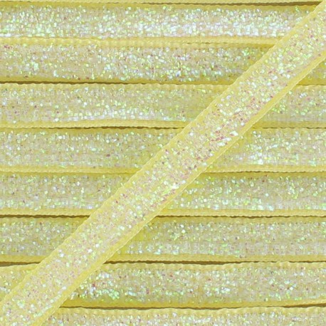 Glittery ribbon 5mm - yellow light x 1m