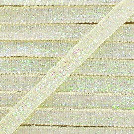 Glittery ribbon 5mm - ecru x 1m