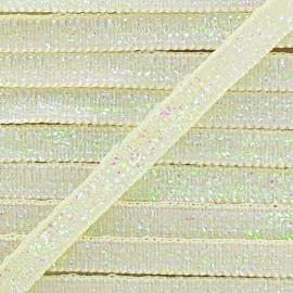 Ruban paillettes irisées 5mm - écru x 1m