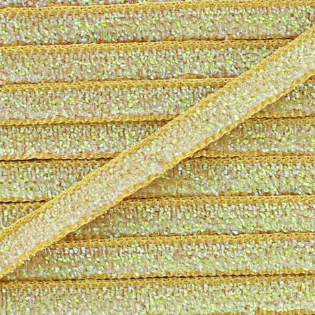 Ruban paillettes irisées 5mm - beige x 1m