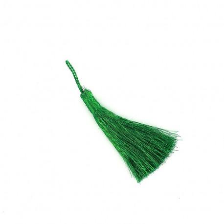 Metallic thread tassel 65 mm - green