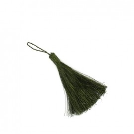 Metallic thread tassel 65 mm - khaki