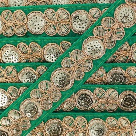 Ruban Galon India Pendjab - vert impérial x 50cm