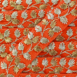 Galon India Brodé Feuille d'or - orange x 50cm