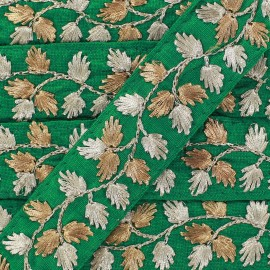 Galon India Brodé Feuille d'or - vert x 50cm