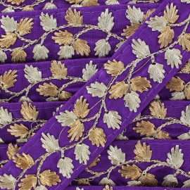 Galon India Brodé Feuille d'or - violet x 50cm