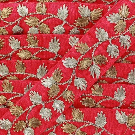 Galon India Brodé Feuille d'or - fuchsia x 50cm
