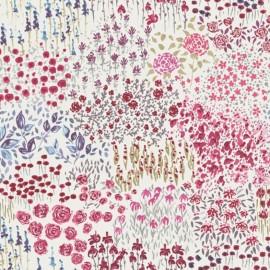 Tissu coton crétonne Fleurette - rouge/rose x 10cm