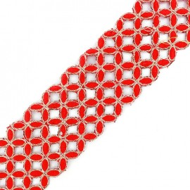 Openwork guipure lace ribbon India Amla - red x 50cm