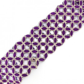 Openwork guipure lace ribbon India Amla - purple x 50cm