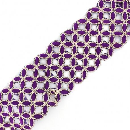 Openwork guipure lace ribbon India Amla - purple x 50cm