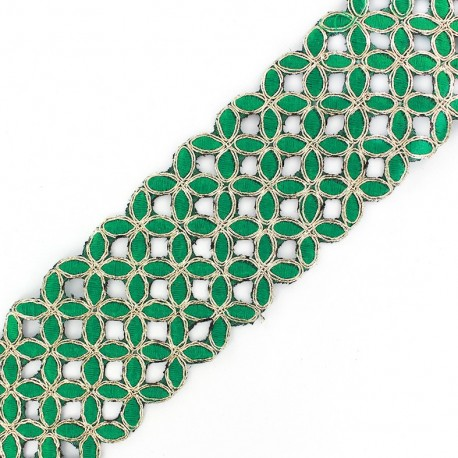 Openwork guipure lace ribbon India Amla - green x 50cm