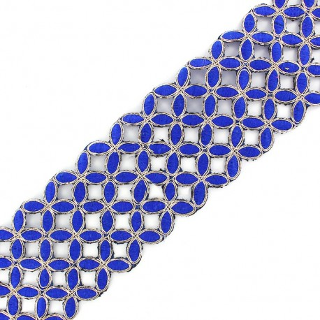Openwork guipure lace ribbon India Amla - navy x 50cm