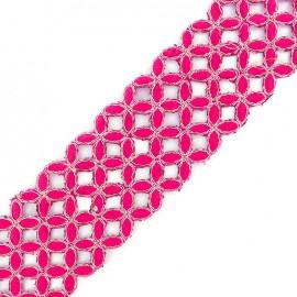 Openwork guipure lace ribbon India Amla - fuchsia x 50cm