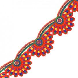 Ruban Galon India Holi festival - rouge x 50cm