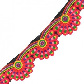 Ruban Galon India Holi festival - rose x 50cm