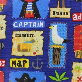 Tissu enduit coton Adventure - bleu x 22cm