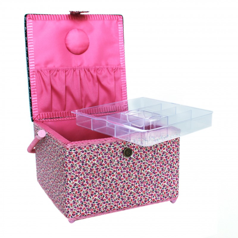 bo te couture carr e 26cm petites fleurs rose ma. Black Bedroom Furniture Sets. Home Design Ideas