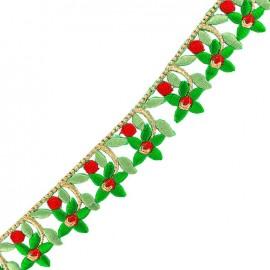 Guipure Ajourée India Fleurs du Gange - vert x 50cm