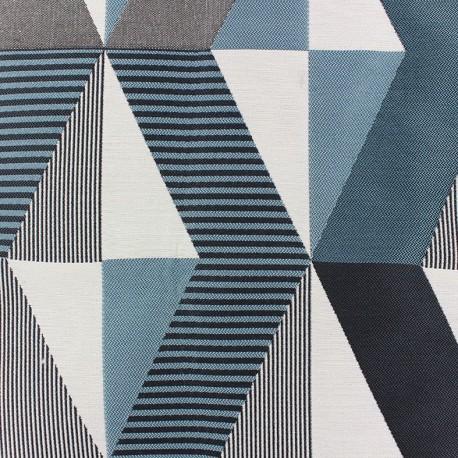 Tissu jacquard Salvador - bleu/noir x 35cm