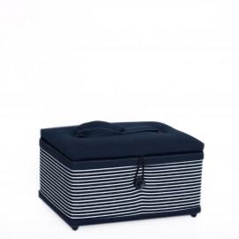Boîte à couture rectangle Prym denim and stripes M