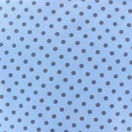 ♥ Coupon 100 cm X 150 cm ♥ Tissu Jersey pois 7 mm - horizon/bleu pâle