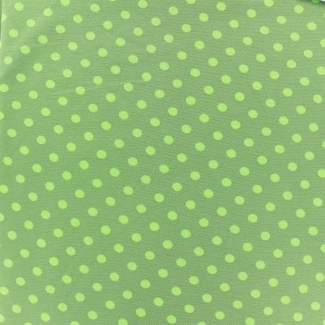 Tissu Jersey pois 7 mm - vert clair/kaki x 10cm
