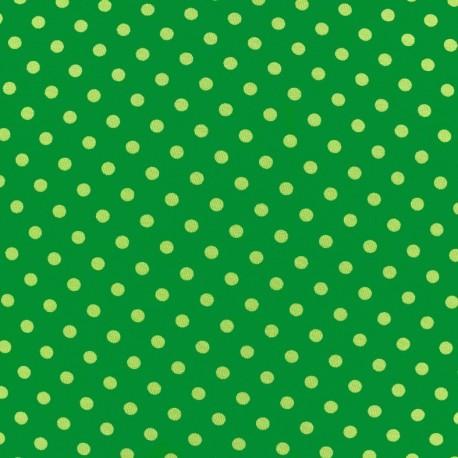 Tissu Jersey pois 7 mm - kaki/vert x 10cm