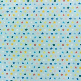 Jersey fabric Multi Stars - light blue x 10cm