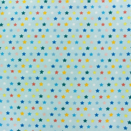 Jersey fabric Multi Stars - light blue x 13cm