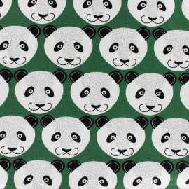 Tissu jogging Poppy Pretty Panda - vert x 10cm