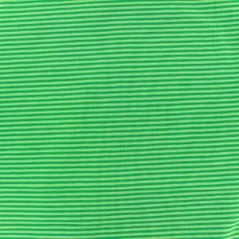 Tissu Jersey Rayures bicolores 2mm - vert/vert clair  x 10cm