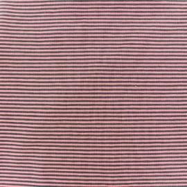 Tissu Jersey Rayures bicolores 2mm - orange/brun x 10cm