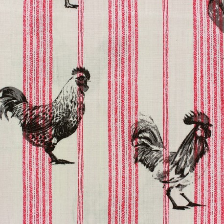 Cretonne cotton fabric Farmers - red/black x 20cm