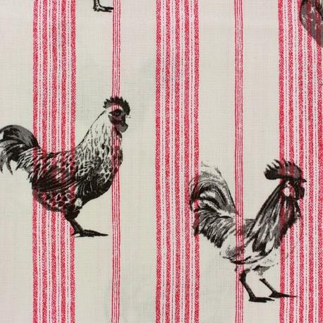 Tissu coton crétonne Farmers - rouge/noir x 20cm