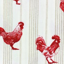 Tissu coton crétonne Farmers - beige/rouge x 20cm