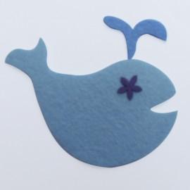 Felt-fabric Litte Whale iron-on applique - sky blue