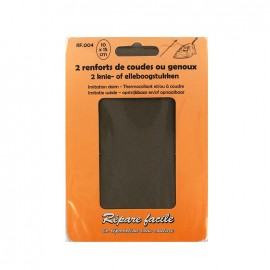 Renforts thermocollants imitation daim coudes ou genoux (lot de 2) - marron