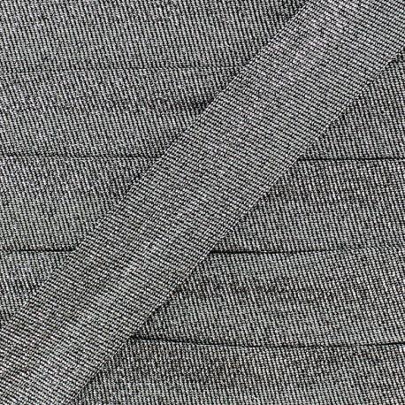 Lurex bias binding - steel x 1m