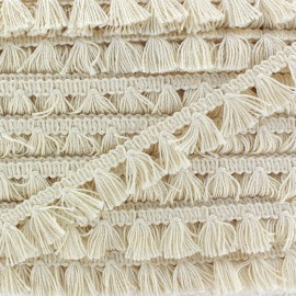 Pompom fringe braid trimming Natural 20 mm x 1m